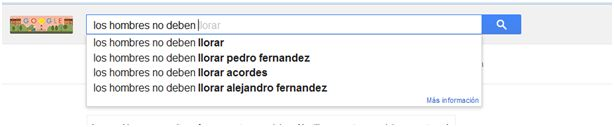 Men should not: cry / cry Pedro Fernandez / cry lyrics / cry Alejandro Fernandez -- apparently the idea of men holding back tears has been immortalized in several popular songs, skewing these search results *just a bit*!
