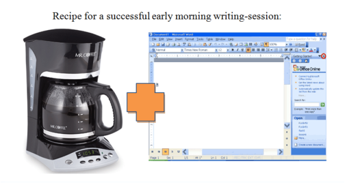 Have your coffee ready and your document open to minimize distraction and procrastination.