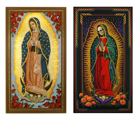 The Virgin of Guadalupe (La virgen de Guadalupe) and Saint Death (Santa Muerte)