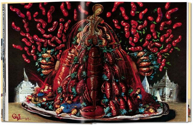 This illustration in Dali's cookbook is somewhat reminiscent of Velazquez's renowned Las meninas. Image via Taschen.