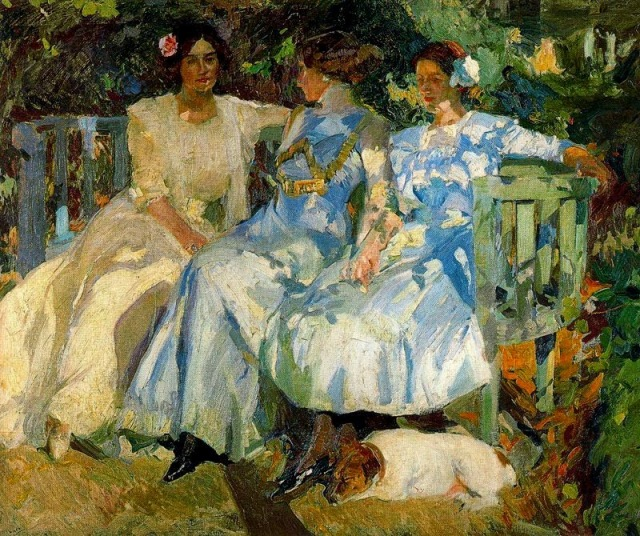 Sorolla_Wife and Daughters in Garden